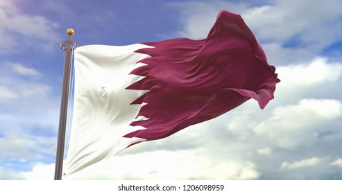Qatar flag waving wind On Sky Background. 3D illustration of wave and fabric Qatar flag.