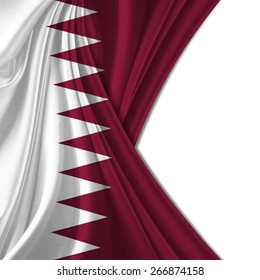 Qatar flag and white background