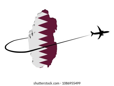 Qatar map flag with plane silhouette and swoosh 3d illustration