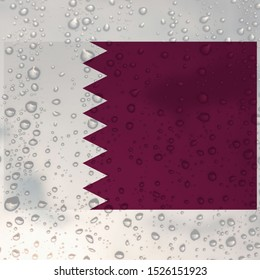 Qatar National Flag on Raindrop Background - Illustration, Icon, Logo, Clip Art or Image for Sport, Cultural, Education or State Events. Celebrating Independence and Veterans Day