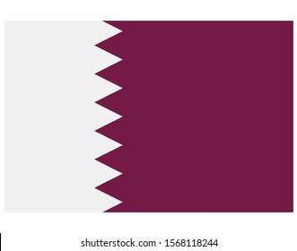 Qatar National Flag on White Background - Illustration, Icon, Logo, Clip Art or Image for Sport, Cultural, Education or State Events. Celebrating Independence and Veterans Day
