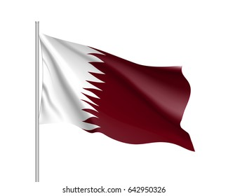 Qatar national flag, patriotic symbol of country, educational and political concept, realistic  illustration