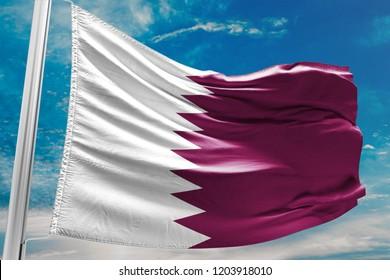 Qatar National Flag Waving, Blue Sky, 3D Illustration