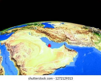 Qatar on model of planet Earth with country borders and very detailed planet surface. 3D illustration. Elements of this image furnished by NASA.