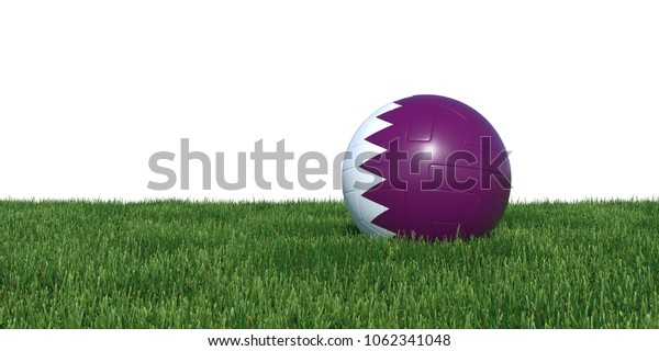 Qatar Qatari flag soccer ball lying in grass, isolated on white background. 3D Rendering, Illustration.
