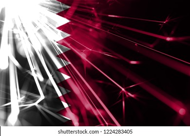 Qatar shining fireworks sparkling flag. New Year 2019 and Christmas futuristic shiny party concept flag