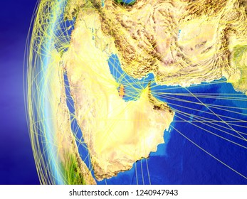 Qatar from space on model of Earth with international network. Concept of digital communication or travel. 3D illustration. Elements of this image furnished by NASA.