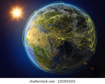 Qatar from space. Planet Earth with network representing international communication, technology and travel. 3D illustration. Elements of this image furnished by NASA.
