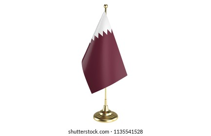 Qatar table flag on white background, 3d rendering, isolated