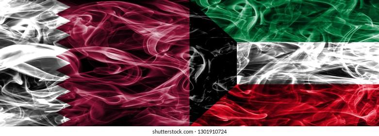 Qatar vs Kuwait, Kuwaiti smoke flags placed side by side. United Arab Emirates. UAE