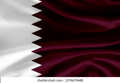 Qatar waving flag illustration. Countries of Asia. Perfect for background and texture usage.