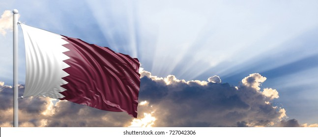 Qatar waving flag on blue sky. 3d illustration