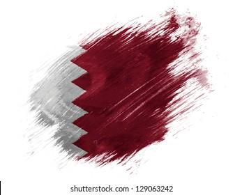 The Qatari flag painted with brush on white background