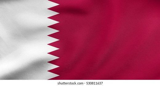 Qatari national official flag. Patriotic symbol, banner, element, background. Correct colors. Flag of Qatar waving in the wind, real detailed fabric texture. 3D illustration