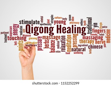 Qigong Healing word cloud and hand with marker concept on gradient background.