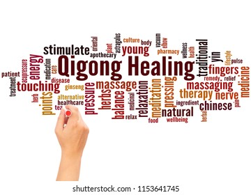 Qigong Healing word cloud and hand writing concept on white background.
