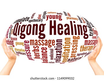 Qigong Healing word cloud sphere concept on white background.