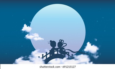 Qixi(Chinese Valentine's day) or Tanabata Festival Banner Background, Celebrates the annual meeting of the cowherd and weaver girl, It falls on the seventh day of the 7th