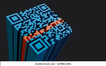 Qr code, 3D illustration