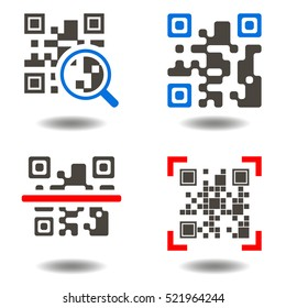Qr code button. QR-code symbol. Icon set purchase by scanning qr code. Scan qrcode, internet shop, barcode, business, technology. Rasterized illustration.  Identification digital shopping sign.