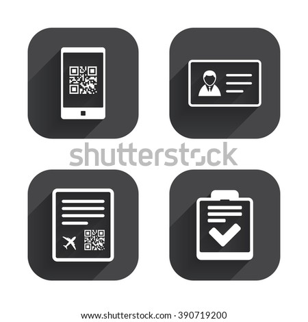 Qr Scan Code Smartphone Icon Boarding Stock Illustration 390719200