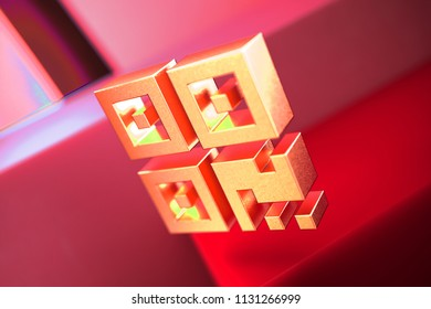 Qrcode Icon on the Red Geometric Background. 3D Illustration of Metallic Barcode, Code, Qr, Qrcode, Quick Response, Scan Icon Set With Color Boxes on Red Background.