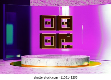 Qrcode Icon on White Marble and Magenta Glass. 3D Illustration of Stylish Golden Barcode, Code, Qr, Qrcode, Quick Response, Scan Icon Set in the Magenta Installation.