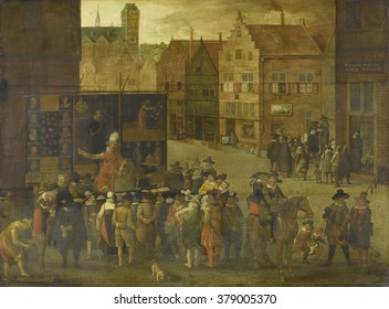 The Quack, by Anonymous, c. 1619-25, Dutch painting, oil on panel. In a town square a quack, mounted on a horse before advertising screens, hawks his medicines. In the gathered crowd is a knife sharpe