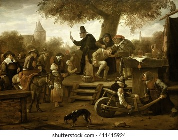 The Quack, by Jan Steen, 1650-60, Dutch painting, oil on panel. A quack shows the villagers a stone he has removed from the tied man on a chair on the platform. Bottles and jars are displayed on the