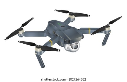 Quadcopter 3d illustration isolated on white
