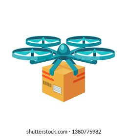 Quadcopter icon. Remote air drone with parcel. Modern delivery of the package by flying quadcopter. Flat style concept. illustration