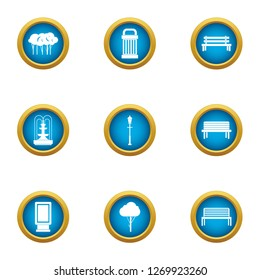 Quadrangle icons set. Flat set of 9 quadrangle icons for web isolated on white background