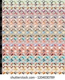 Quadrangle watercolor design. Background pattern with eight different color options.