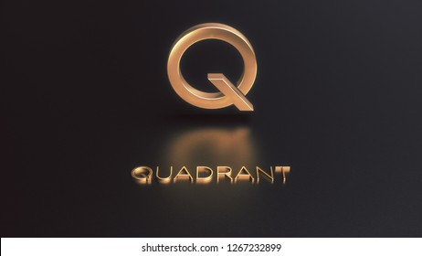 Quadrant blockchain-based protocol cryptocurrency golden icon 3d illustration