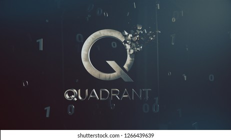 Quadrant cryptocurrency crushing logo 3d illustration