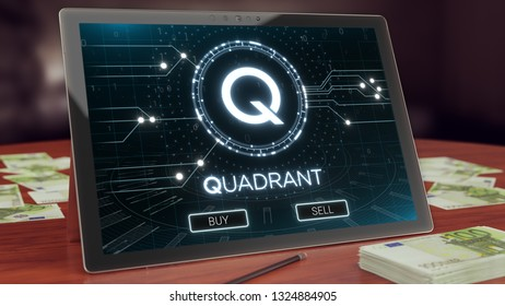 Quadrant cryptocurrency logo on the pc tablet display. Neon bright symbol, buy and sell buttons, 3D illustration