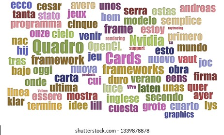 Quadro Tagcloud In Rows On White Background