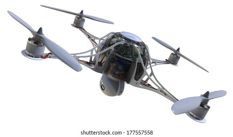 Quadrocopter with camera isolated on white
