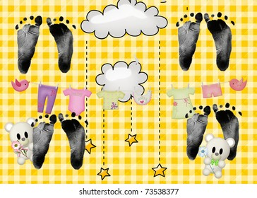 quadruplet footprints on quilted gingham background