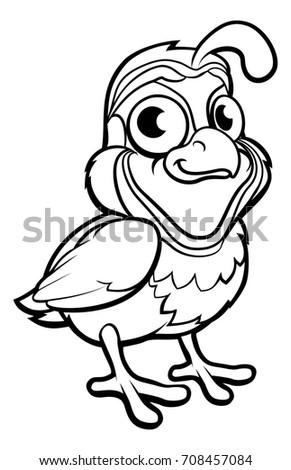 Quail Bird Cute Cartoon Character Outline Stock Illustration