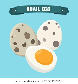 Quail egg product food vector icon. Cartoon boiled quail eggs in the shell and without the shell. Illustration food quail eggs in flat minimalism style.