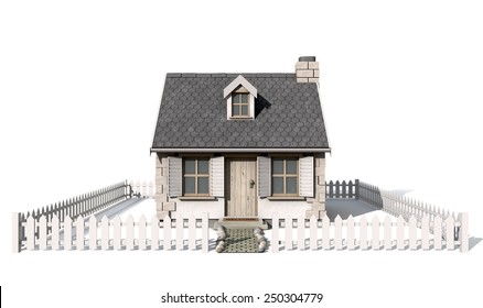 A quaint little stone cottage with a brick chimney and wooden shutters on the windows surrounded by a white picket fence on an isolated background