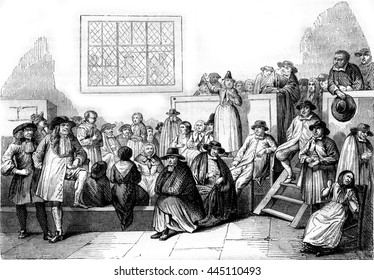A Quaker meeting in the eighteenth century, vintage engraved illustration. Magasin Pittoresque 1843.