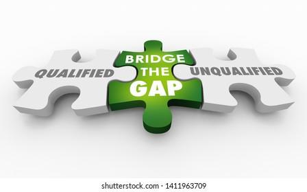 Qualified Vs Unqualified Puzzle Pieces Words 3d Illustration