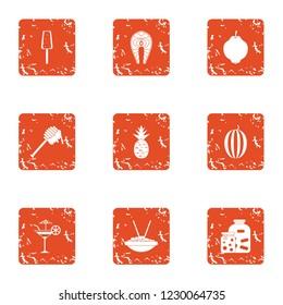 Qualify food icons set. Grunge set of 9 qualify food icons for web isolated on white background