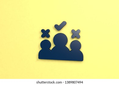 Qualifying 3D illustration, blue color on yellow background