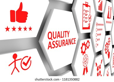 QUALITY ASSURANCE concept cell background 3d illustration