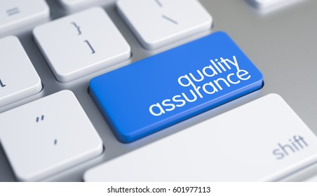 Quality Assurance - Inscription on Blue Keyboard Key. 3D.
