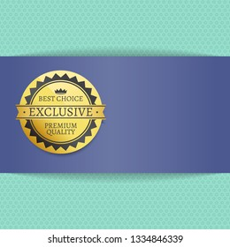 Quality choice high award best stamp golden label reward award raster illustration in blue and gold colors with text isolated on striped blue background