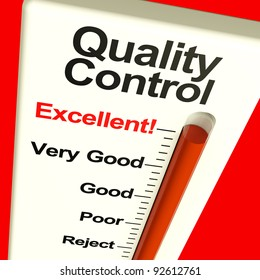 Quality Control Excellent Monitor Showing High Satisfaction And Perfection As Well As Approval Or A Certified Product. QC Also Applies To Iso Assurance Check Ratings And Manufacture Testing.